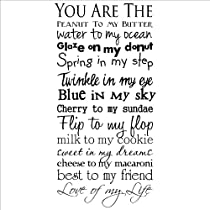 You Are the Peanut to My Butter Water to My Ocean Glaze on My Donut Spring in My Step Twinkle in My Eye... wall saying vinyl letterin home decor decal stickers quotes appliques love macaroni