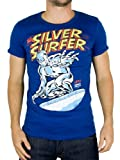 Logoshirt - Azure Blue Marvel Silver Surfer T-Shirt - Mens