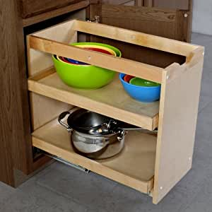 Cabinet Pullout Shelving Organizer 14 Inch Wide 2 Full Shelves