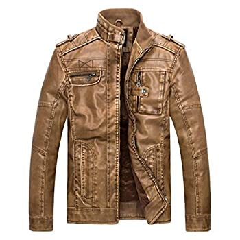 Wantdo Men's Vintage Stand Collar Leather Jacket
