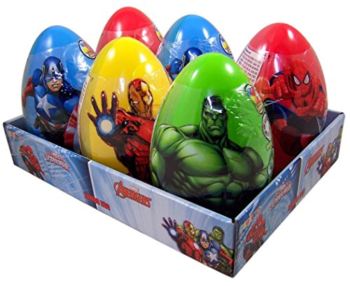 Marvel Avengers and Spiderman Jumbo Filled Easter Eggs, Case of 6