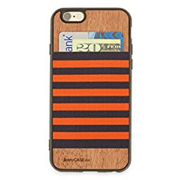 jimmyCASE® iPhone 6/6s Wallet Case - Ultra Slim Protective Credit Card Carrying Case (Orange & Gray Stripe)