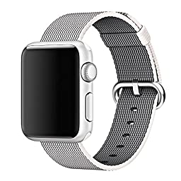 Apple Watch Band, T-Trees 2016 Newest Woven Nylon Strap Replacement Wrist Band Classic Bracelet Strap Bands for Apple Watch (Nylon 42mm-White)