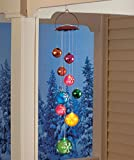 Solar Lighted Hanging Mobile Ornament Balls Whimsical Decor Festive Christmas Holiday Front Door Porch Accent Outdoor Decoration