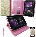 Emartbuy® Hot Pink Stylus + Universal Range Floral Pink / Green Multi Angle Executive Folio Wallet Case Cover With Card Slots Suitable for HP Slate 10 HD