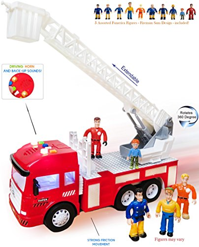 [FUNERICA Fire Truck with Lights and Sounds/Sirens - Extending Ladder - 4 Sounds - Contains 5 Mini Funerica Fireman Sam Figures - 6 Powerful Friction Rolling Wheels. Firetruck Toy for Kids and] (Make Lego Costume Legs)