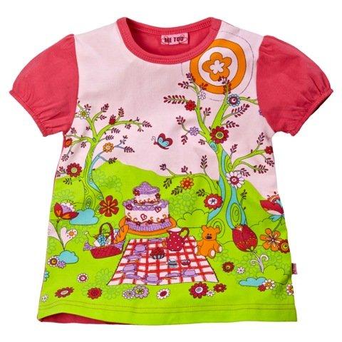 Me Too Girls Peta Mini Teddy Bear's Picnic Tunic - Bloom (Fuscia Trim)