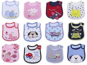V-SOL Babero Sin Mangas Largas Para Bebés Niños Impermeable Con Cierre De Velcro Fieltro Lateral 12pcs