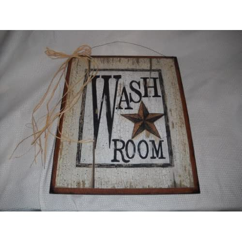 Wash room barn star outhouse sign country bathroom decor for Wood bathroom wall decor