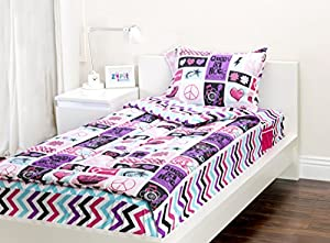 Zipit Bedding Set, Rock Princess - Twin - Zip-Up Your Sheets and Comforter Like a Sleeping Bag!