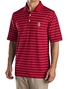 Buy NCAA Mens Stanford Cardinal Cardinal Red White Drytec Sweeten Stripe Tee by Cutter & Buck