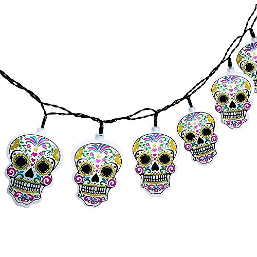 Halloween String Lights with Skull, Icicle 6.7ft 10 LED Battery-Powered String Lights for Indoor/Outdoor, Halloween, Cool Party, Surprising Gift (Cool White)
