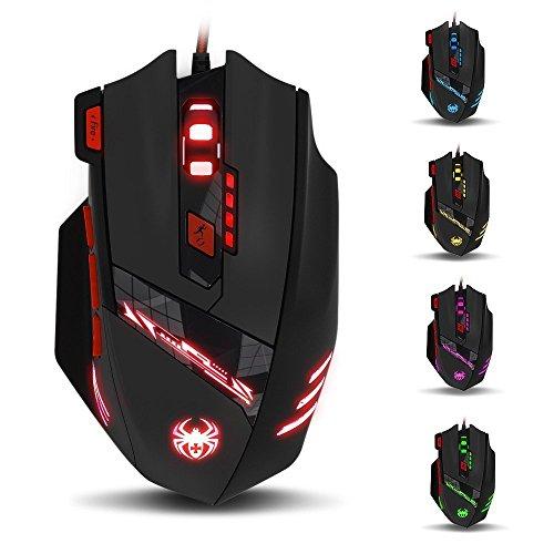 KingTop Gaming Mouse Ottico per PC portatile Computer con USB Connessione, 6 DPI Regolabile 1000-9200 DPI, 6 LED di Colore Opzioni, 8 Tasti, Cartuccia Sintonia Peso