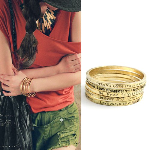 Fashion Great Gift Vintage Letter Bracelet Bangle Foreign Trade European 5 Pcs