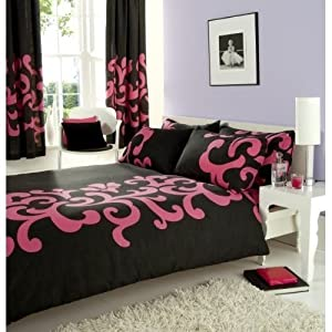 parure housse de couette black noir rose fushia chambre adulte 200 x 200 2 personnes. Black Bedroom Furniture Sets. Home Design Ideas
