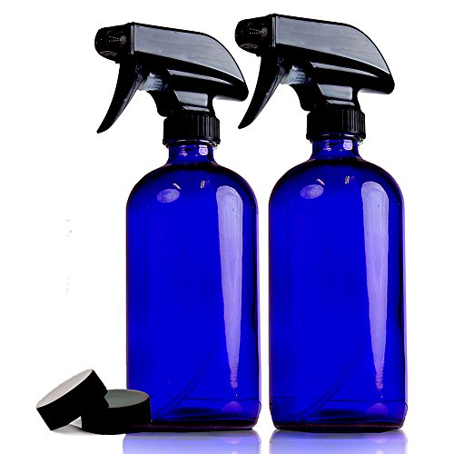 Chefland (2 Pack) 16 Oz. Glass Spray Bottles for Multi-purpose Use Such As Kitchen, Bath, Beauty, and Gardening, w/Durable Black Sprayer and Caps -