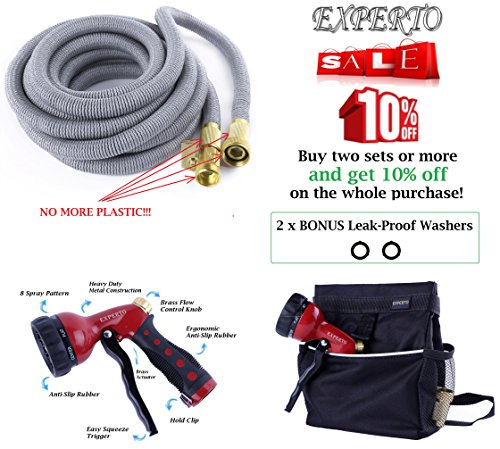 EXPERTO Expandable Garden Hose 3 in 1 KIT 25ft, 50ft, 75ft, 100ft, Silver, Red, Blue, Green - Expending Hose + Heavy Duty 8 Pattern Metal Watering Nozzle + Hose Storage Bag (100ft, Silver) (Hose Pressure Bag compare prices)