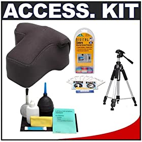 Neoprene Holster Case with Tripod and Cleaning Kit for Nikon, Canon, Pentax, Fuji, Sony and Olympus Digital SLR Cameras