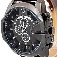 Malloom® hombres la moda de lujo analógico deporte Caso de acero cuarzo marcar cuero de la PU reloj de pulsera Marrón + Negro de Malloom®