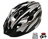D'Kotte スタイリッシュ! 軽量! 自転車用 サイクリング ヘルメット 色選択できます!LEDテールライト付き! (銀/黒)