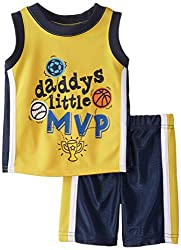 Boyzwear Baby Boys' 2 Piece Daddys Little Mvp Tee and Short Set, Yellow, 12 Months