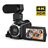 Video Camcorder, Andoer 4K Digital Video Camera 48MP 2880 x 2160 HD 3inch Touchscreen Handy Camera with IR Night Sight Support 16X Zoom 128GB Max Storage (Camera+Microphone)