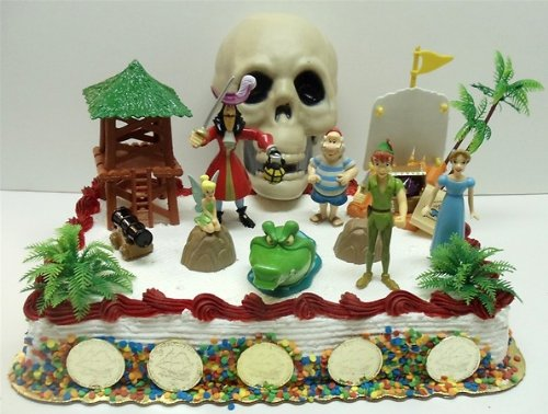 Disney Peter Pan Birthday Cake Topper Set Featuring Peter Pan, Wendy, Captain Hook, Smee, Tinker Bell, Tic Toc and Peter Pan Pirate Decorative Themed Pieces