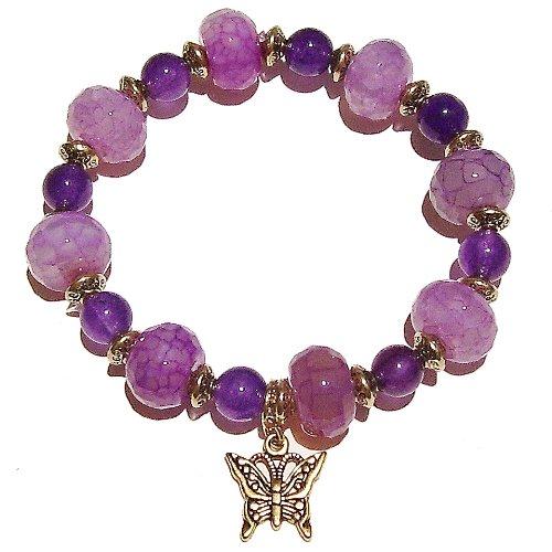 Purple Faceted Dragon Vein Agate, Amethsyt & Antique Gold Stretch Bracelet 20.5cm