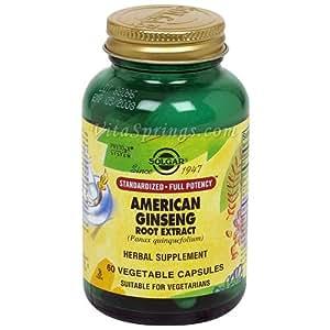 Solgar - Standardized Full Potency American Ginseng - 60 vegetable capsules