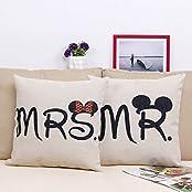 Wonder4 18-inch Cotton Linen Decorative Couple Throw Pillow Cover Cushion Case Couple Pillow Case Set Of-2 Mr...