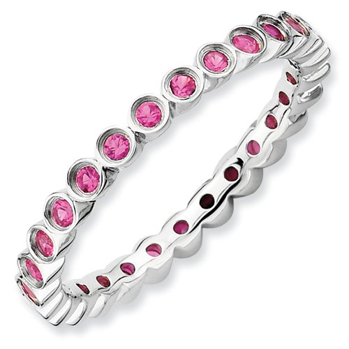 Sterling Silver Stackable Expressions Created Ruby Ring (Size 10)