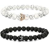 LOLIAS 2 Pcs Bead Couples Bracelet for Men Women Crown Queen Bracelet Adjustable 8MM Beads LA
