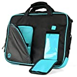 Innovative 15 inch Aqua Marine Blue Pindar Travel Friendly Laptop Bag for the Samsung Series 3 NP305V5A1 Ultrabook with Extra Features: Reinforced construction Velcro charging port to charge without removing device Apple iPad sized Pocket for tablets or eReaders Unique pull down Smartphone & MP3 front pocket with earphones slot and Tuck Away Handles!!! + Compatible Earbuds and Wireless Mouse!