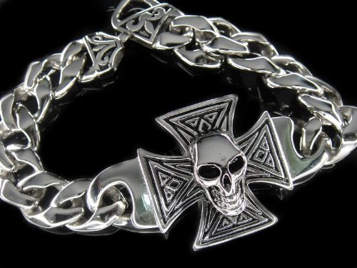 316L Stainless Steel Heavy Skull Hand Made Bracelet for Harley Motor Biker TB27