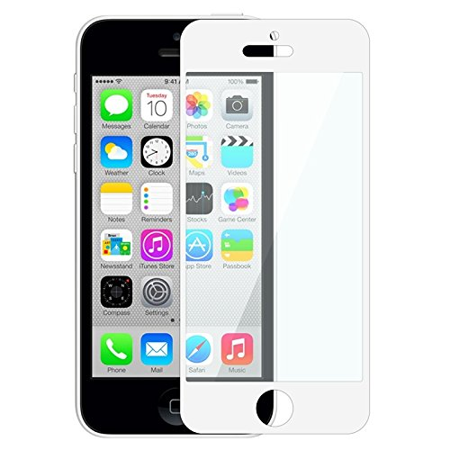 Everydaysource® Compatible With Apple® Iphone® 5/ 5S/ 5C White Colorful Frame Color Coated Lcd Screen Protector Film Shield Guard Cover