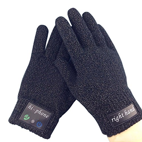 Rasse® Wireless Bluetooth Handset Bluetooth Touch-screen Glove Bluetooth Talking Gloves Bluetooth Headset Winter Warm Gloves for iPhone Samsung Android Phones (Black)