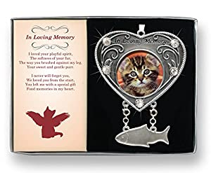 Cat Bereavement Remembrance Memorial Photo Ornament and Fish Shaped Stand
