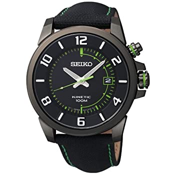 Seiko, Kinetic, Men's Watch, Stainless Steel Black Ion Plated Case, Fabric Over Leather Strap, Kinetic Powered/Autoquartz, SKA557