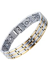Stainless Steel Man Magnetic Energy Link Bracelet with Magnets Gold Silver Two Tone