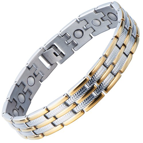Stainless Steel Man Magnetic Bracelet Energy Link Gold Silver with Magnets and Free Link Removal Tool