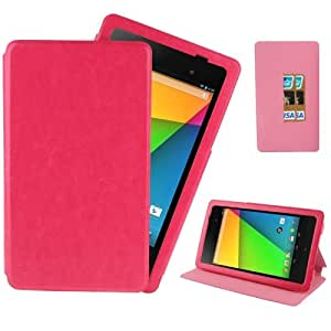 Crazy Horse Texture Detachable Leather Case with Credit Card Slot & Holder for Google Nexus 7 (2013 Version), Magenta