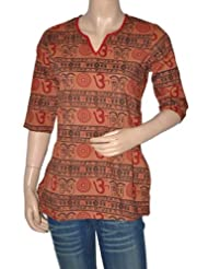 Rajrang CasuaL Wear Hand BLock Printed Cotton Short Indian BLouse Kurta Top Size M