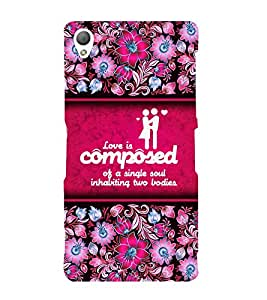 Love Quote 3D Hard Polycarbonate Designer Back Case Cover for Sony Xperia Z3 :: Sony Xperia Z3 D6653 D6603