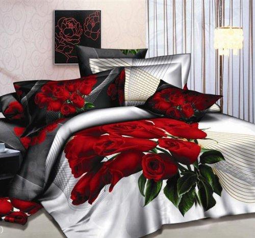 DIAIDI Home Textile,Rose Print Bedding,3D Oil Painting Red Rose Flower Bedding Set,Queen,4Pcs