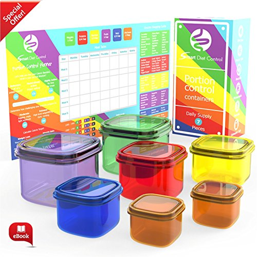 Smart Diet Control Portion Containers kit 7 Piece with eBook 21 day Meal Planner Complete Guide Leak Proof Microwave and Dishwasher Safe (Glass Fruit Containers compare prices)