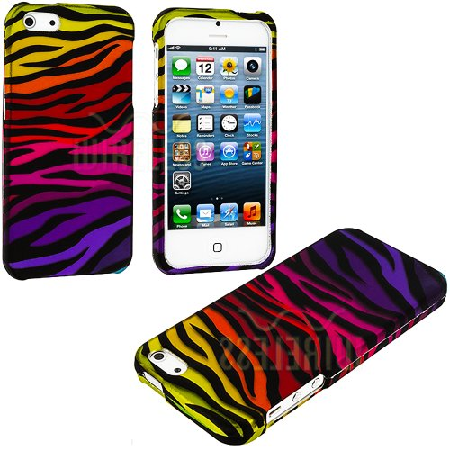 Mylife (Tm) Rainbow + Black Zebra Stripes Series (2 Piece Snap On) Hardshell Plates Case For The Iphone 5/5S (5G) 5Th Generation Touch Phone (Clip Fitted Front And Back Solid Cover Case + Rubberized Tough Armor Skin + Lifetime Warranty + Sealed Inside Myl
