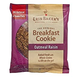 Erin Baker\'s Breakfast Cookies, Oatmeal Raisin, 3-Ounce Individually Wrapped Cookies,12 Count