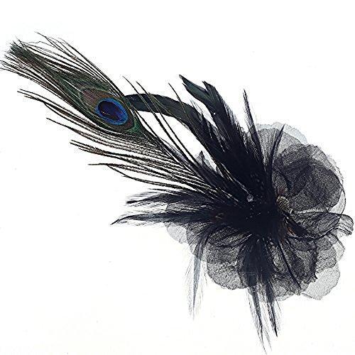 Navifoce Elegant Womens Girl Seersucker Peacock Frangipani Plumeria Fascinators Cocktail Feather Headwear Hair Clip (Black) (Feather Clips compare prices)