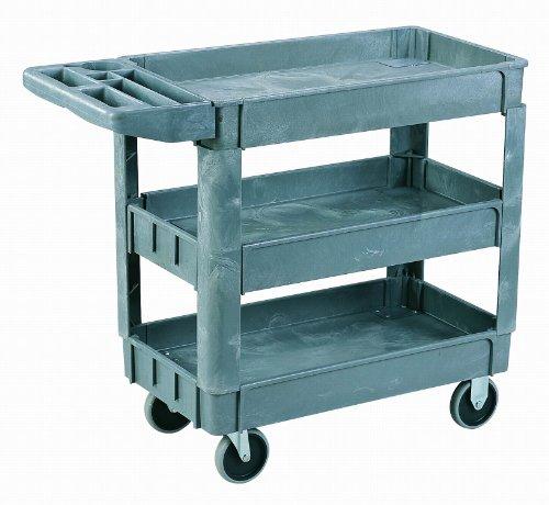 Sandusky PUC254635-3 Heavy Duty Plastic Utility Cart, 3 Shelves, 35