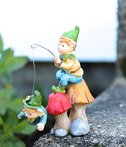 "Giftcraft Miniature Fairy Garden 5.5"" Enchanted Forest Fishing for Gnomes"
